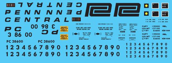 Penn Central X58 Box Car 2 Line White Car Decal Set
