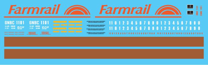 Farmrail ACF 3 Bay Covered Hopper Decal Set