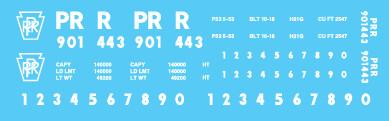 PRR H21G 70t Hopper Block Lettering Decal Set