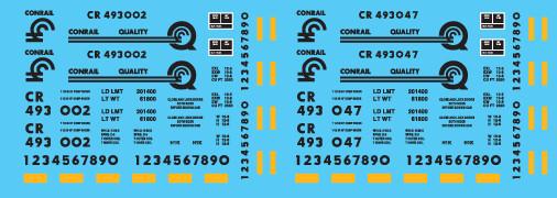 Conrail Ortner Hopper Black Lettering Decal Set