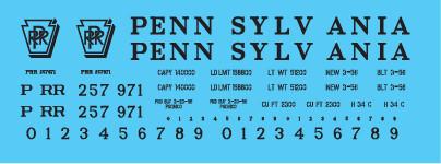 PRR 2 Bay Covered Hopper Small Shadowed Keystone Decal Set