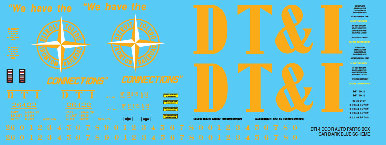 DTI 4 Door Auto Parts Box Car Dark Blue Scheme Decal set