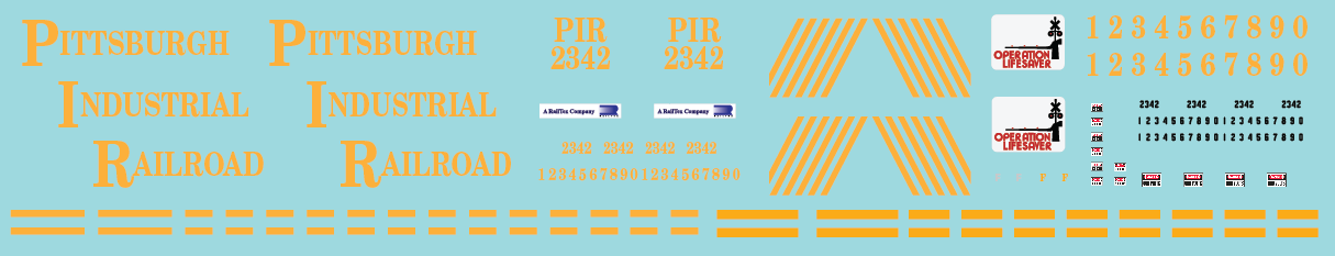 Pittsburgh Industrial Railroad SW1500 Decal Set