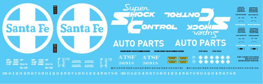 ATSF 4 Door Auto Parts Box Car White Super Shock Control Decal Set