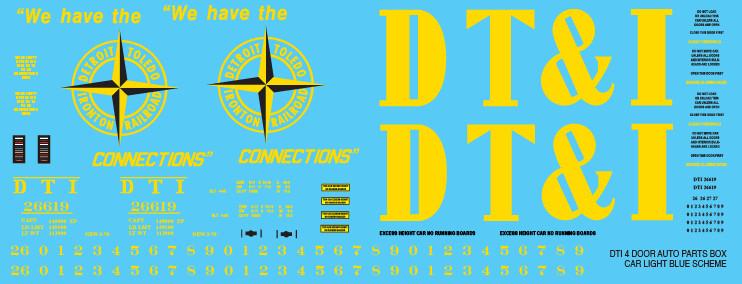 DTI 4 Door Auto Parts Box Car Light Blue Scheme Decal set