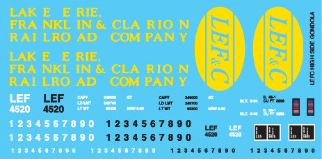 LEF&C High Side Gondola Decal Set