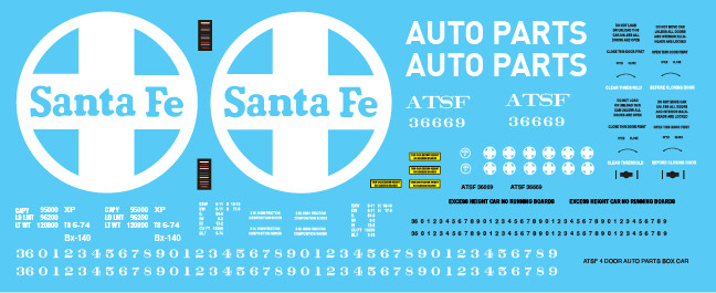 ATSF 4 Door Auto Parts Box Car Decal Set