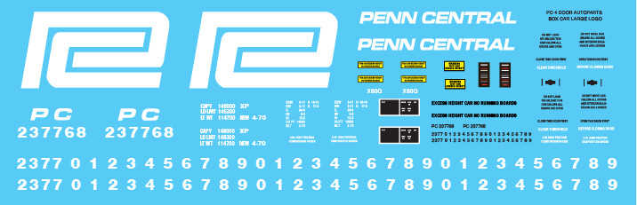 Penn Central 4 Door Autoparts Box Car - Large Logo Decal Set