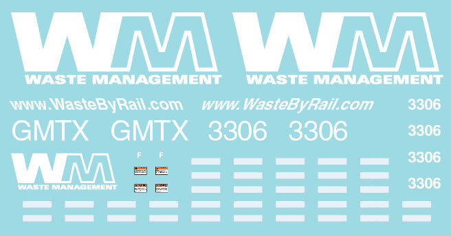 Waste Management GMTX 3306 Locomotive Decal Set