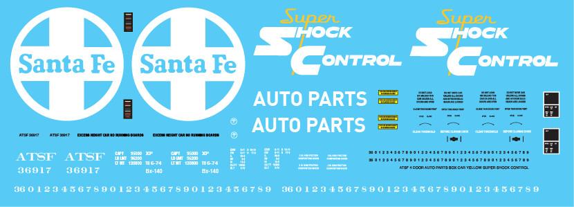 ATSF 4 Door Auto Parts Box Car Yellow Super Shock Control Decal