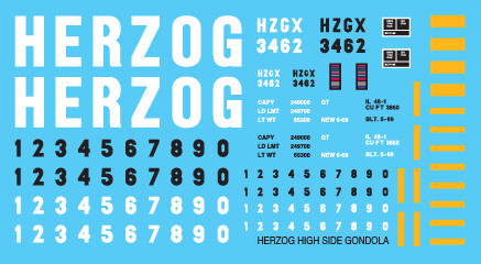 Herzog High Side Gondola Decal Set