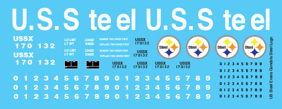 US Steel Evans Gondola Steel Logo Decals