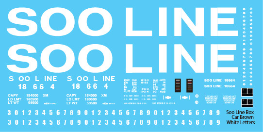 Soo Line Box Car Brown White Letter Decals