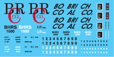Bobrich Coal Co 1500 series High Side Gondola Decals