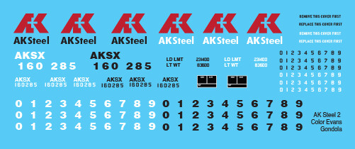 AK Steel Evans Gondola 2 Color Scheme Decals