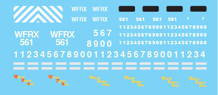 WFRX Lease Small Lettering Locomotive Decal Set