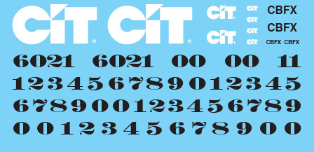 CIT Rail Resources (CBFX) Locomotive Black Letters Decals
