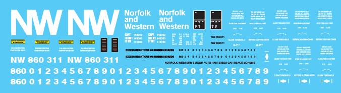 Norfolk Western 8 Door Auto Parts Black Scheme Decals