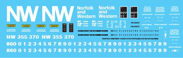 Norfolk Western 4 Door Auto Parts Black Scheme Decals