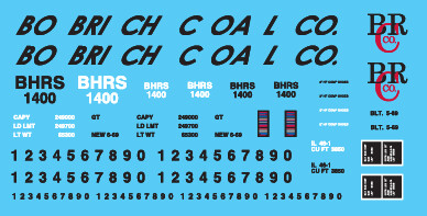 Bobrich Coal Co 1400 series High Side Gondola Decals