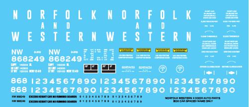Norfolk Western 4 Door Auto Parts Spaced Name Only Decals