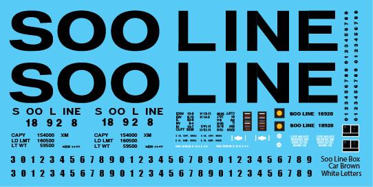 Soo Line Box Car White Black Letter Decals