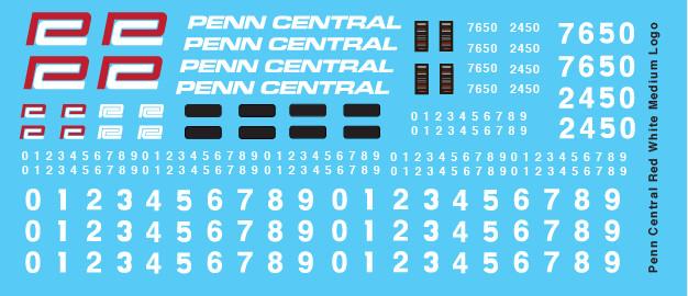 Penn Central Locomotive Medium Red White Logo