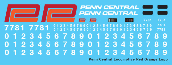 Penn Central Locomotive Decals Red Orange