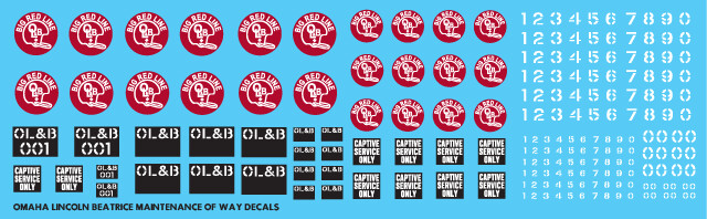 Omaha Lincoln Beatrice Maintenance of Way Decals