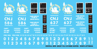 Central New Jersey PS2 Covered Hopper White Lettering Decals