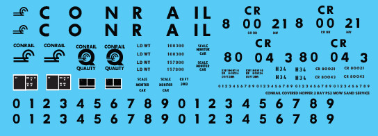 Conrail Covered Hopper 2 Bay PS2 MOW Sand Service Decals