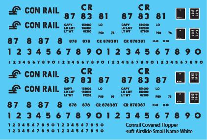 Conrail Covered Hopper Airslide 40ft Small Name White/Black