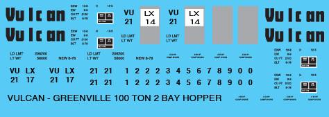 Vulcan Minerals Co 100T 2 Bay Open Hopper Decals