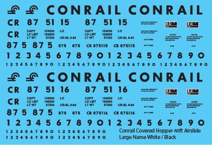 Conrail Covered Hopper Airslide 40ft Large Name White/Black