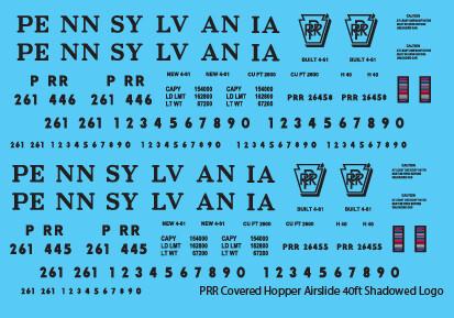 Pennsylvania Railroad Covered Hopper Airslide 40ft Shadowed Logo