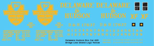 Delaware Hudson Box Car 40ft Bridge Line Yellow Shield