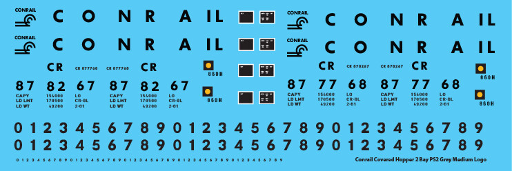 Conrail Covered Hopper 2 Bay PS2 Gray Medium Logo