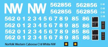 Norfolk Western C-18 Caboose White NW Logo Decals