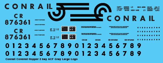 Conrail Covered Hopper 2 Bay ACF Gray Large Logo