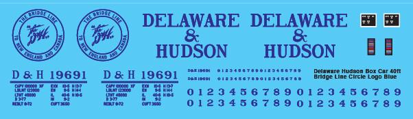 Delaware Hudson Box Car 40ft Bridge Line Blue Circle