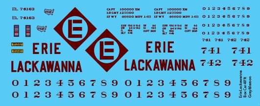 Erie Lackawanna Box Car 40ft Gray Maroon Decals