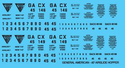 General American Covered Hopper 40ft Airslide Decals