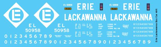 Erie Lackawanna Box Car 40ft Brown White Decals