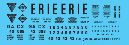 Erie Railroad Covered Hopper 40ft Airslide Decals