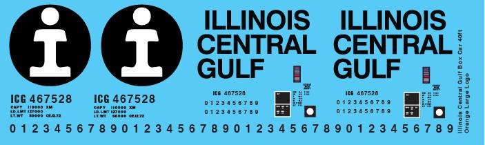 Illinois Central Gulf Box Car 40ft Orange Large Logo Decals