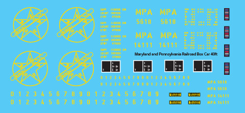 Maryland Pennsylvania 40ft Box Car Decals