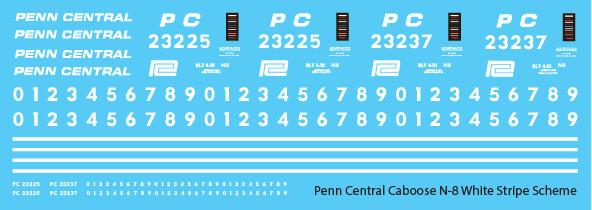 Penn Central Caboose N-8 White Stripe Scheme Decal Set