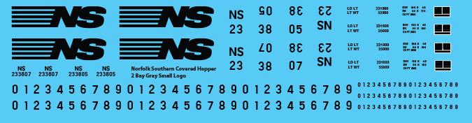 Norfolk Southern Covered Hopper 2 Bay Gray Small Logo
