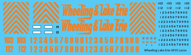 Wheeling & Lake Erie (WE) GP35 Locomotive Decals