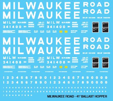 Milwaukee Road Open Hopper Ballast 41ft Decals